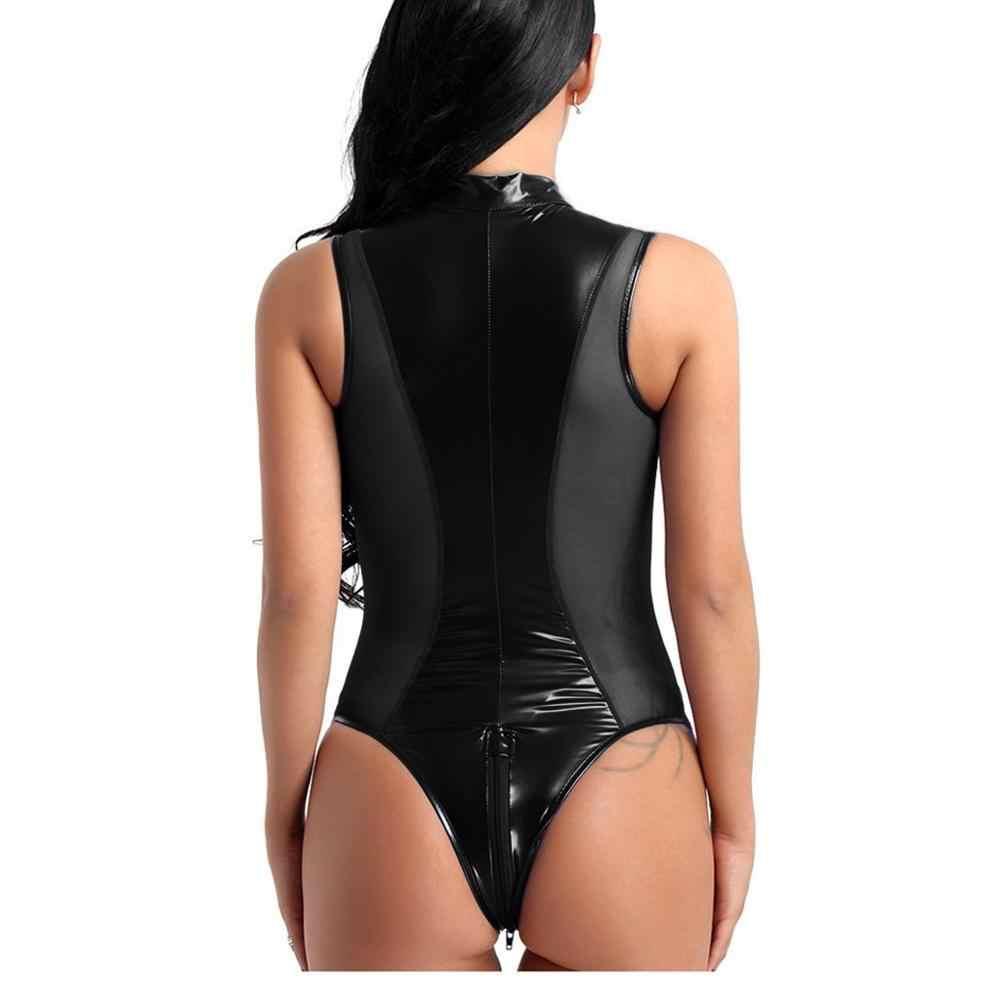 Seksi Wanita Lateks Catsuit Crotchless Bodysuit Thong Baju Renang Clubwear Kulit Paten Tinggi Memotong Ritsleting Terbuka Selangkangan Baju Tdh