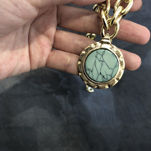 Green Stone Blue Crystal Dangle Thick Chain Long Necklace Jewelry Vintage Punk Round Coin Pendant Choker Necklace(China)