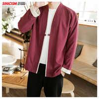 Sinicism Store hommes Patchwork chemise Streetwear manches courtes 2019 été Harajuku Vintage Kimono chemises noir mode point ouvert