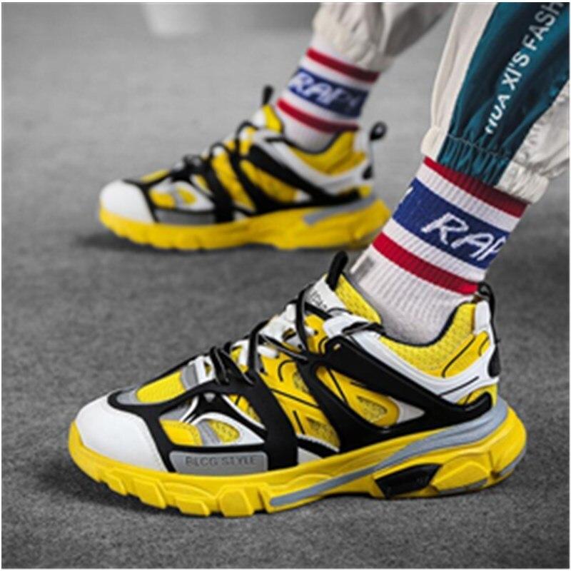 2019 винтажные массивные кроссовки; цвет желтый, черный, белый; Модная легкая дышащая мужская повседневная обувь; мужские кроссовки; zapatos hombre - 2