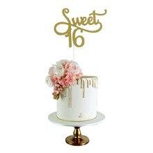 Doce 16 ouro monograma bolo topper carta bolo topper 16th festa de aniversário temas decoração aniversário fontes