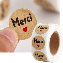 500 pces/rolo meric francês obrigado adesivos para seu pedido selo etiqueta presente embalagem decoração papelaria obrigado você adesivos