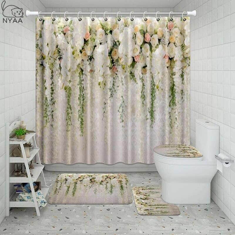vixm autumn leaves flower bathroom waterproof shower curtain set pedestal rug lid carpet toilet cover set bath curtain mat set