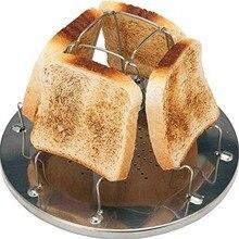 1 шт., простая портативная стойка для тостов из нержавеющей стали, Открытый походный тостер, складной портативный гриль, универсальная плита, гриль