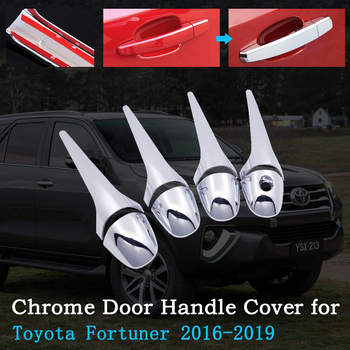 Chrome Car Door Handle Cover for Toyota Fortuner SW4 AN150 AN160 2016~2019 Luxury Trim Set Exterior Car Accessories 2017 2018 image