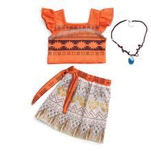 Dziecięce sukienki dla dziewczynek kostium dziewczęcy Moana Cosplay drukuj Vaiana księżniczka urodziny ubrania imprezowe letnia sukienka z wycięciem na plecach dla dziewczynki