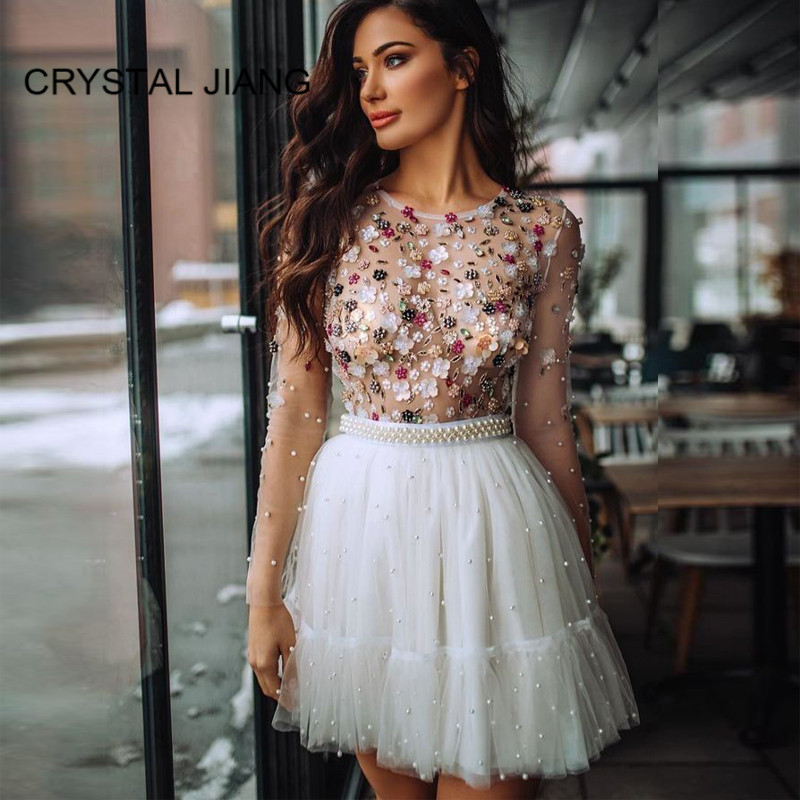 Luxury Cocktail Dresses 2019 Scoop Collar Crystal Beaded Long Sleeves Pearl Lace A Line Elegant Cocktail Party Gowns