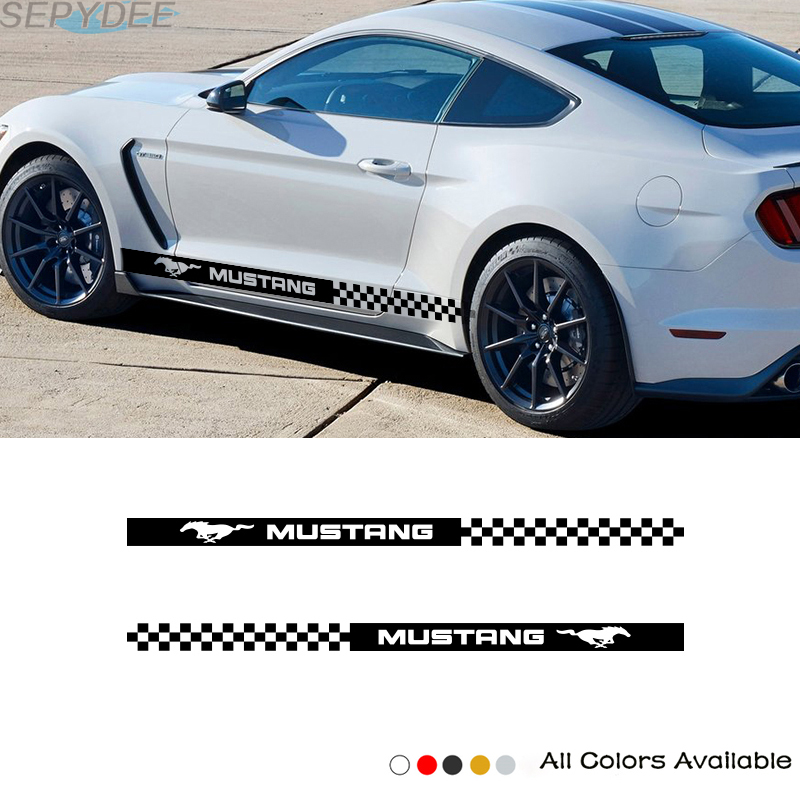 2 Pcs Car Side Sticker Vinyl Decals Stripes Wraps Body Stickers Car Styling For Ford Mustang