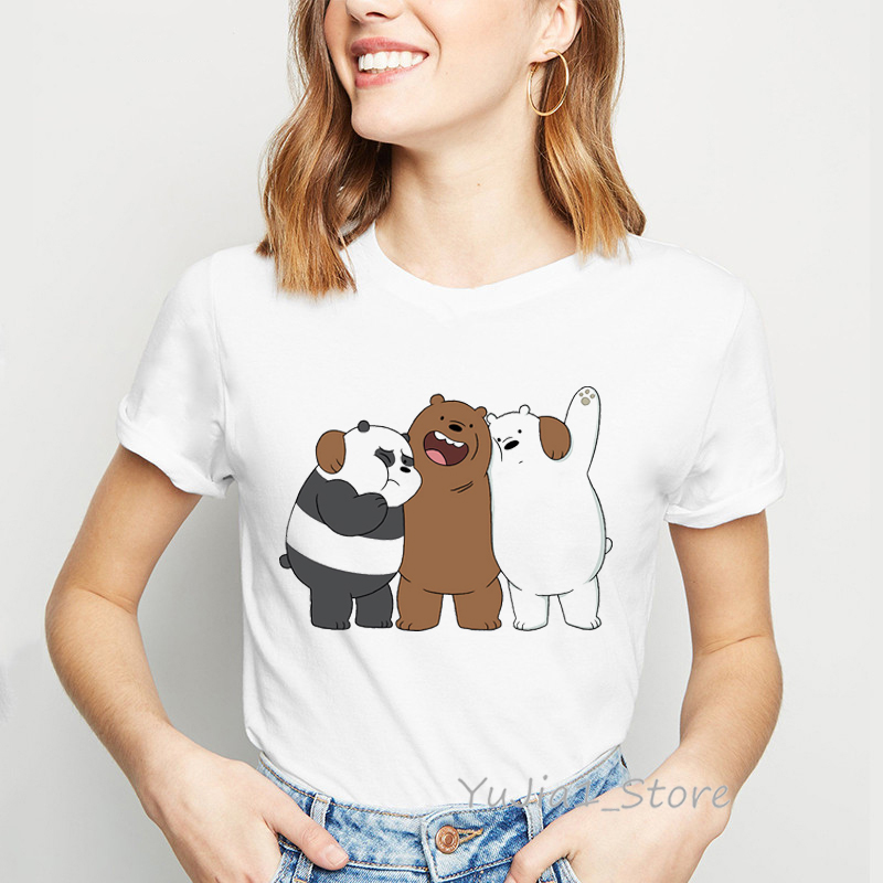 We Bare Bears Funny T Shirts Women Clothes 2019 Panda Ice Bear Animal Printed T-shirt Camiseta Mujer Vogue Tshirt Femme Tops