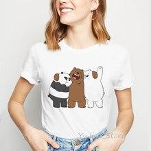 we bare bears funny t shirts women clothes 2019 Panda Ice Bear animal printed t-shirt camiseta mujer vogue tshirt femme tops