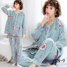 Набор пижам для беременных женщин, зимняя фланелевая одежда для грудного вскармливания,, теплый утолщенный пижамный комплект для беременных