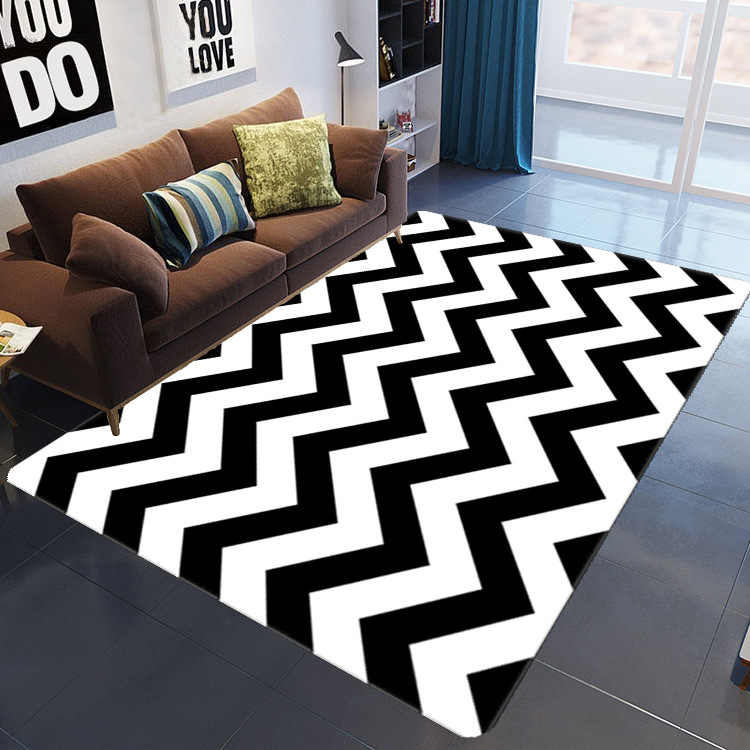 tapis d art abstrait ondule noir et blanc moderne grand nordique pour salon table chambre d enfant canape decoration de maison