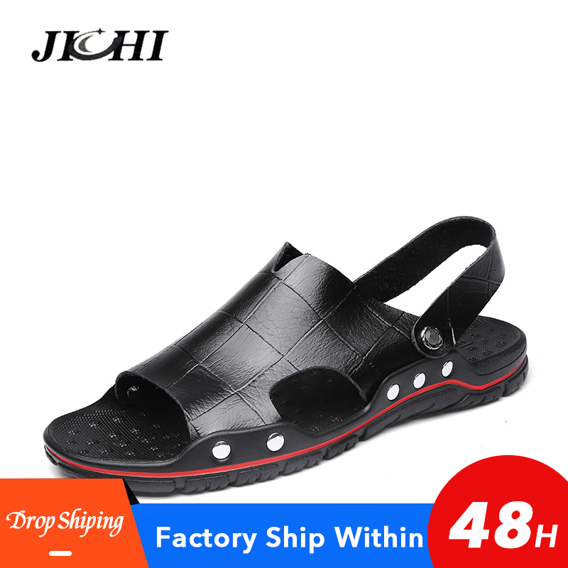 2020 New Men Sandals Leather Men Slippers Summer Flat Wear-resistant Beach Sandal Men Lightweight Rubber Outdoor Big Size 38-48