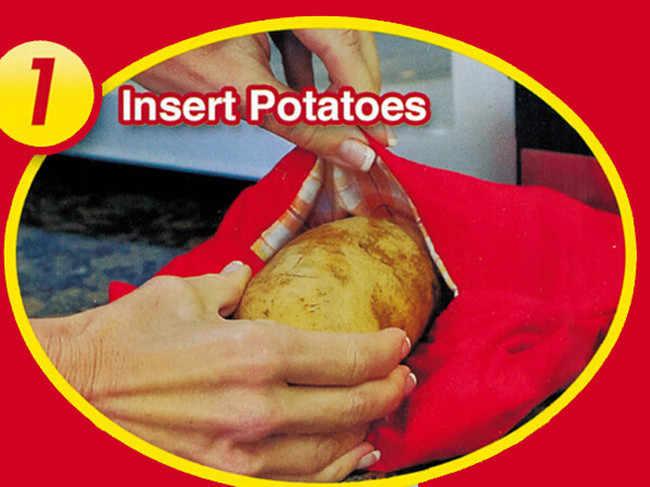 2020 أحمر قابل للغسل طباخ حقيبة خبز البطاطس الميكروويف الطبخ البطاطس سريعة سريعة (يطبخ 4 البطاطس في وقت واحد) Hot