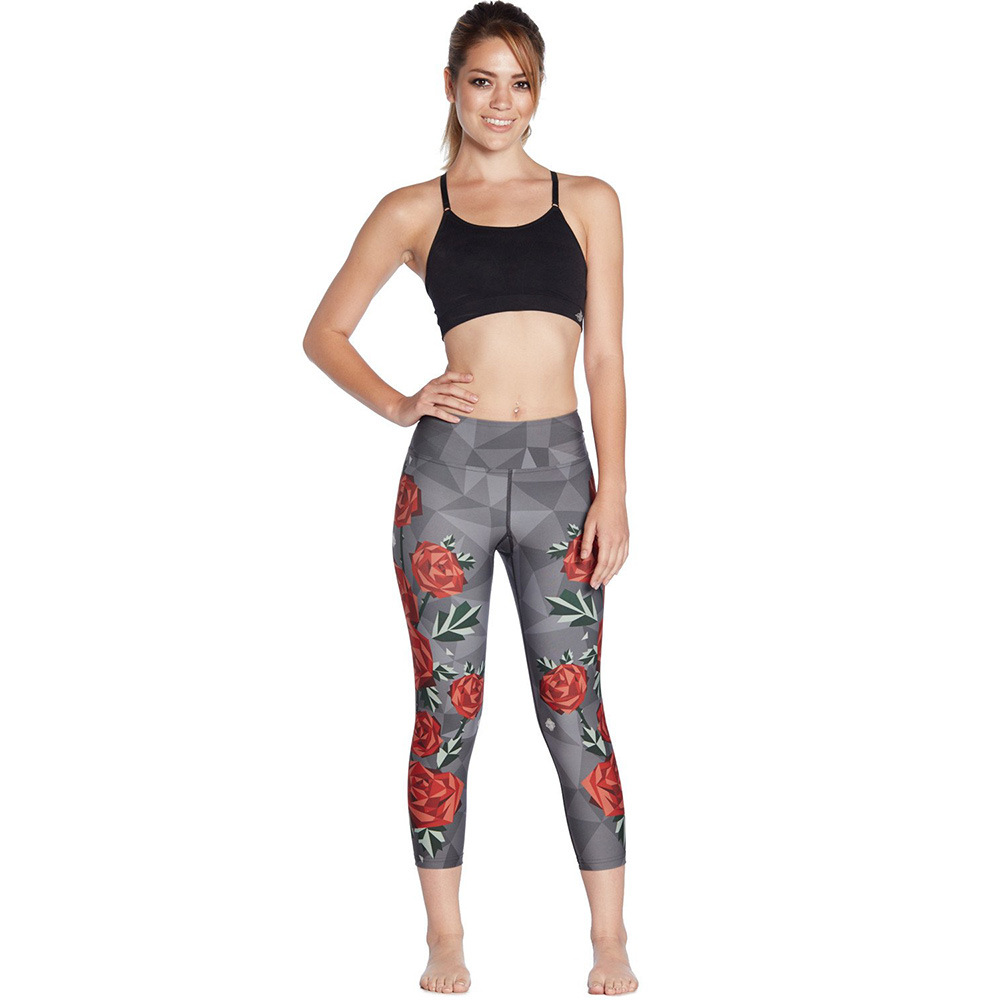 Red Rose-flattering S Air-permeable Running Sweat-absorbing And Sweat-absorbing Women's Seven-point Lady Pants Leggings