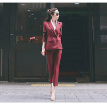 Fashion New Small Temperamentvocational Women Wine Red Elegant Office Lady Suit Femme