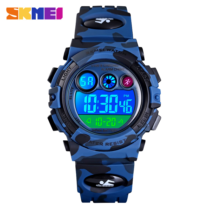 SKMEI Children LED Electronic Digital Watch 50M Waterproof Kids Wristwatch Clock For Boys Girls Relógio Infantil Sport Watches