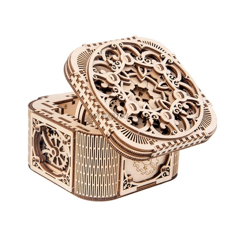 DIY 3D Wooden Mechanical Puzzle Jewelry Box Model Building Kits Adult Children Gift Toys