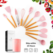 12-Pcs Pink Silicone Kitchen Utensils Set Tools with Holder Wooden Handles Spatula Cooking Utensil Nonstick Appliances