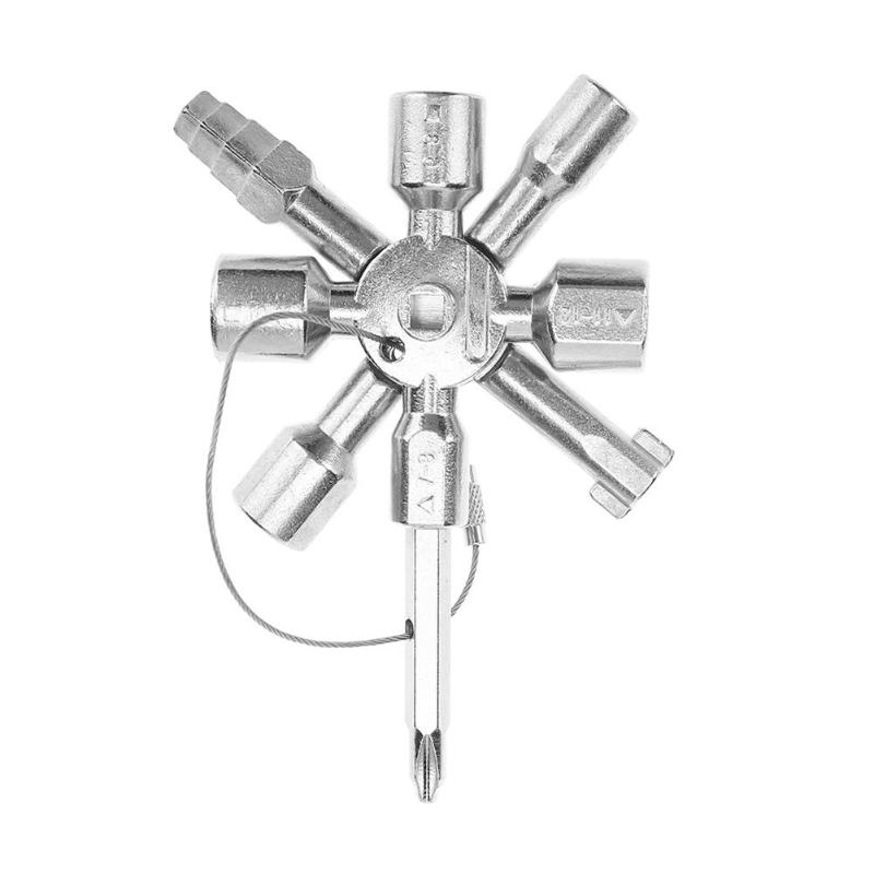 Multifunction 10 In 1 Cross Switch Key Wrench Universal Square Triangle Metal Strong Sturdy Portable Hand Tool