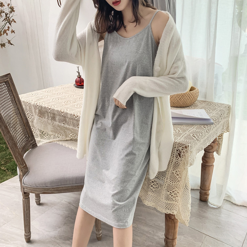 2019 Summer New Style Versatile Solid Color Nightgown Women's Base Nightgown Pajamas Home Long-Outer Wear Strapped Dress