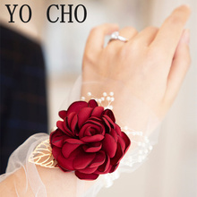YO CHO запястье корсаж свадьба браслет для подружки невесты бордовый шелк запястье корсаж подружка невесты сестры рука цветы мужчины бутоньерка