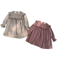 Autumn Winter Solid Color Long Sleeve Toddler Baby Girls Dresses Flare Sleeve Kids Velvet Clothes Princess Style Dresses LZ526