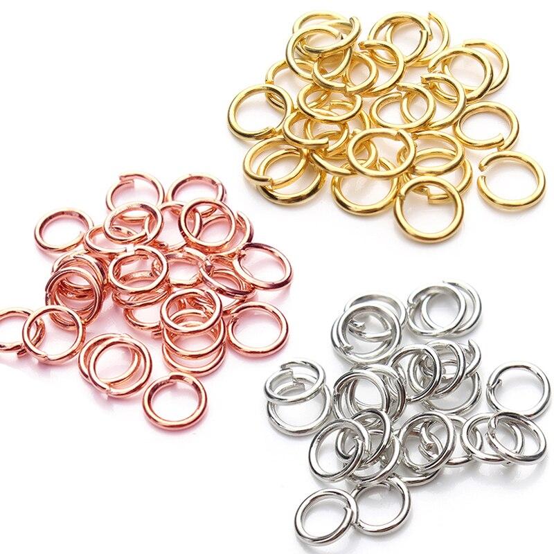 200 шт., открытые кольца из нержавеющей стали, золотые, серебряные, 4, 5, 6, 8 мм, разделенные кольца, соединители для самостоятельного изготовлен...
