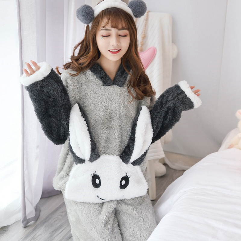 JULY'S SONG Woman Flannel Pajamas Winter Pajama Sets Pink Cute Cartoon Animal Pajamas Thick Sleepwear Woman Casual Homewear