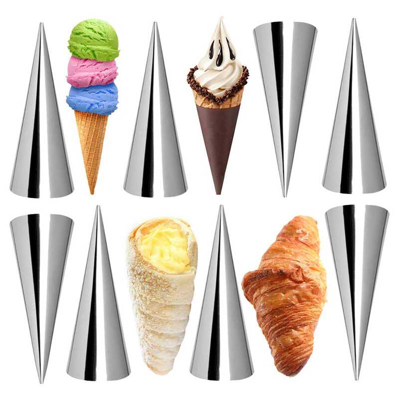 IALJ Top Cream Horn Molds 12Pcs Large Size Baking Cones Stainless Steel Roll Horn Forms Conical Danish Pastry Croissant Cones Mo