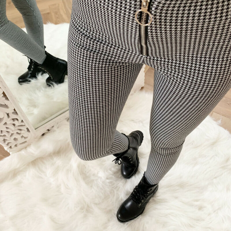 Vintage Fashion Clothing Women Pants Ladies Plaid Sexy Slim Fit Pants High Waist Zipper Office Long Trousers Pants Plus Size Hot