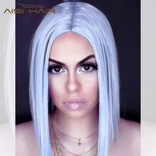 Aisi волосы 14 дюймов боб парики средняя часть короткие прямые