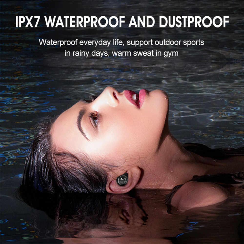 Bluetooth Earphone Mini LED Display Headphone Stero Suara Power Bank 2000 MAh Wireless Headset Sport dengan Mikrofon