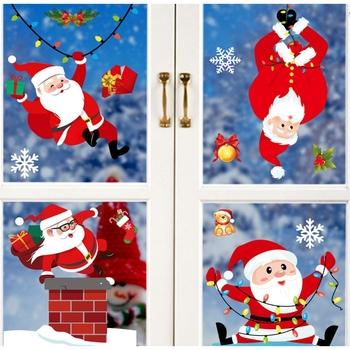 Bożonarodzeniowe naklejki na okno okno wspinaczka Santa prezent Santa naklejki Super Santa naklejki 2021 wystrój świąteczny dla domu tanie i dobre opinie Gooparty