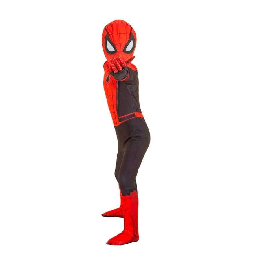 Spider-Man Longe de Casa Cosplay Máscara de Peter Parker Terno Bodysuit Macacão Zentai Halloween Costume Spiderman Super-heróis Homem Crianças