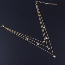 Fashion Multilayer Crystal Statement Necklace Pendant Clavicle Choker Chain Necklaces for Women trendy crystal pearl pendant chain necklace multilayer alloy women fashion clavicle choker necklace jewelry