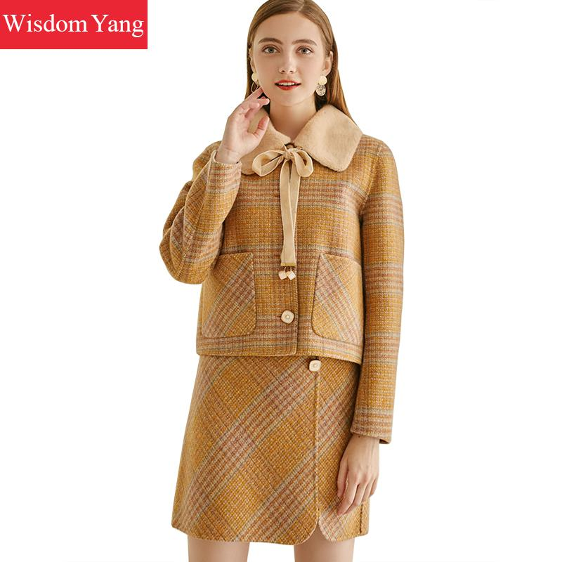 2 Piece Winter Autumn Women Sheep Wool Suit Tops Cashmere Coats Yellow Plaid Woolen Overcoat Mini Wrap Skirts Korean Lady Suits