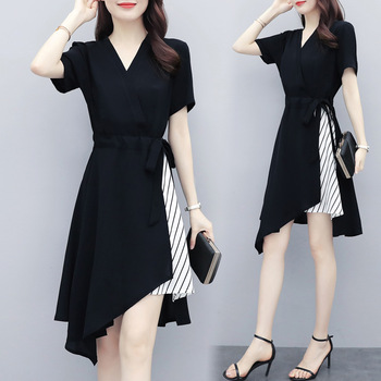 2020 Summer Vestidos Women's New Black V-neck Stitching Loose Fit Slim Thin Dress Casual Temperament Mujer Dresses Female Z826 1