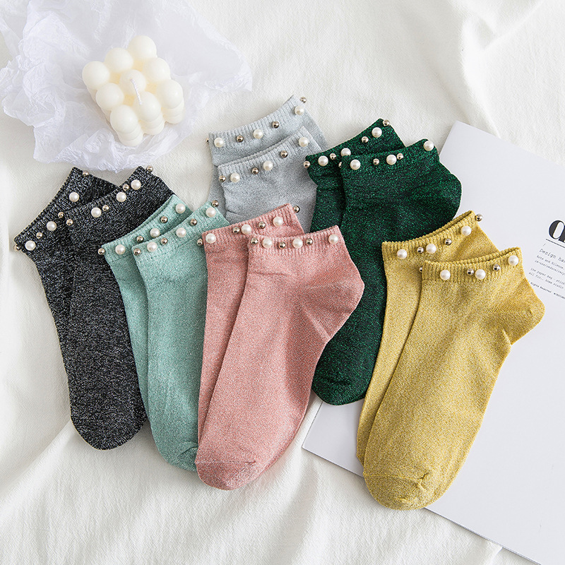 Silver 2020 Summer Fashion Women Socks Silk Pearl Socks Thin Crystal Socks Warm Feet 1pair Womens Ladies Crystal Short Socks