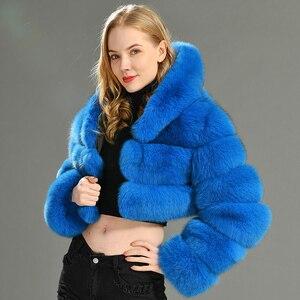 Image 3 - 2019 inverno Reale della Pelliccia di Fox Delle Donne di Cappotti Naturale Genuino Femminile Giacca di Pelliccia di Volpe di Alta Qualità Delle Signore Cappotto di Pelliccia Con Cappuccio