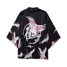 #3733 Mens Streetwear Jackets And Coats Vintage Black White Crane Print Retro Kimono Jacket Cardigan Beach Sunscreen Kimono Male