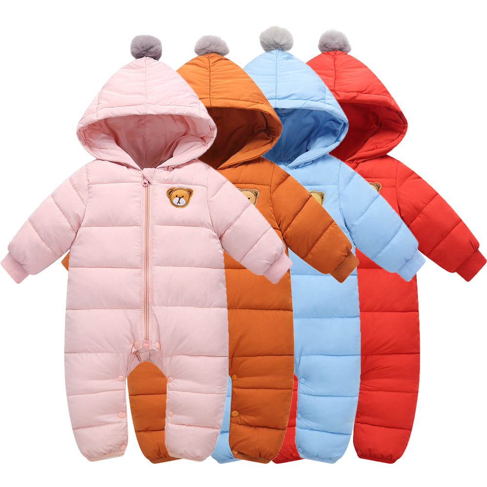 Winter New Style Children Infants Child Hooded One-piece down Cotton Thick One-piece Romper Baby out Clothes