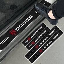 4 pçs de fibra carbono decalque protetor do peitoril da porta do carro adesivo para dodge challenger ram 1500 carregador avenger calibre nitro