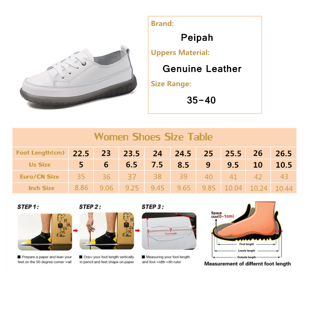 PEIPAH Sport Shoes Women Natural Genuine Leather Flat Casual Shoes Female Ballet Flats Lace Up White