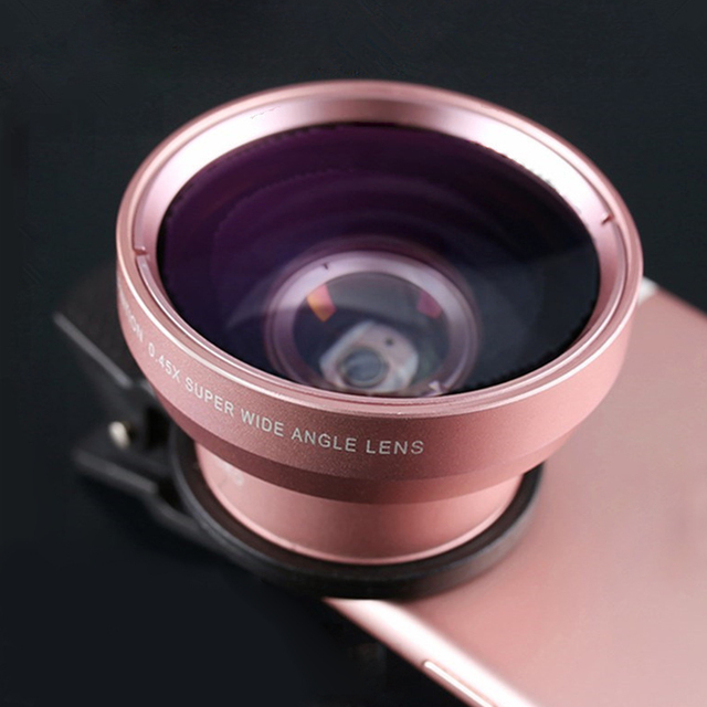 2 IN 1 Lens Universal Clip 37mm Mobile Phone Lens Professional 0.45x 49uv Super Wide-Angle + Macro HD Lens For iPhone Android 2