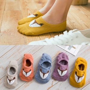 5 Pairs Fashion Cartoon Animal Fox Boat Socks Invisible Sock Women Cute Funny Socks Female Casual Cotton Girl Ankle Socks