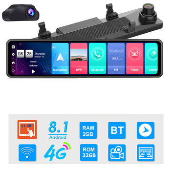 12 inch Car DVR Rearview Mirror 4G Android 8.1 Dash Cam GPS Navigation Full HD 1080P Car Video Recorder DVR