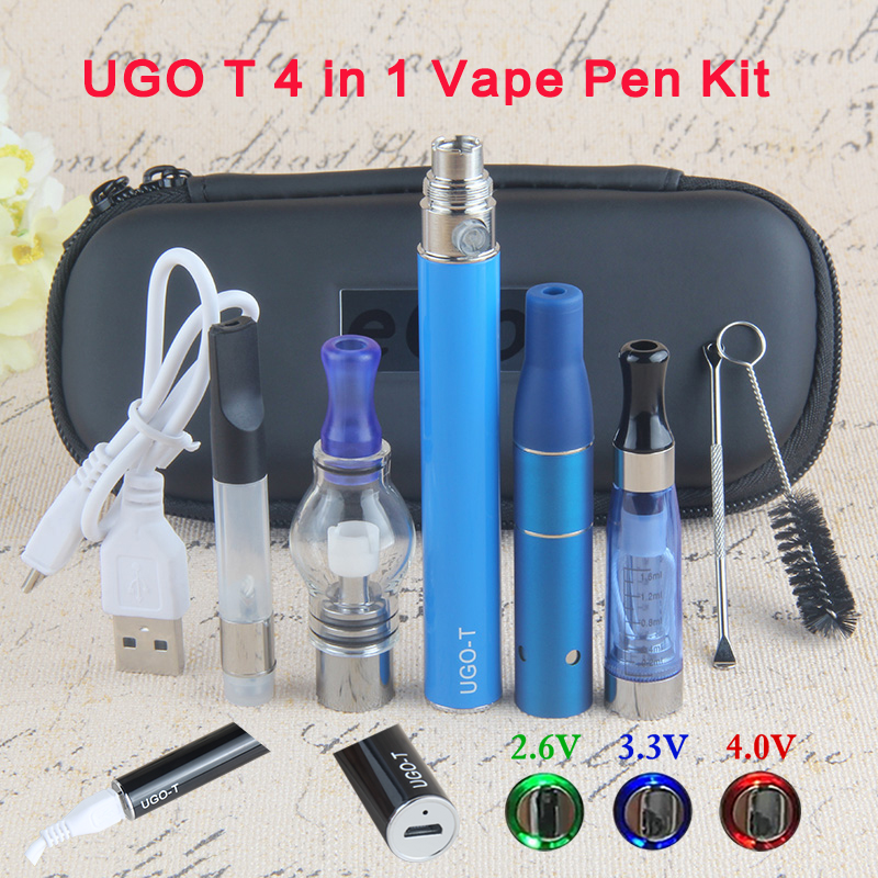 1pcs Dry Herb Vaporizer 4 In 1 UGO-T Starter Kit With CE4 Wax Pen Glass Globe CE3 Tank Vape ECig 1100mAh Ego Battery Preheat VV