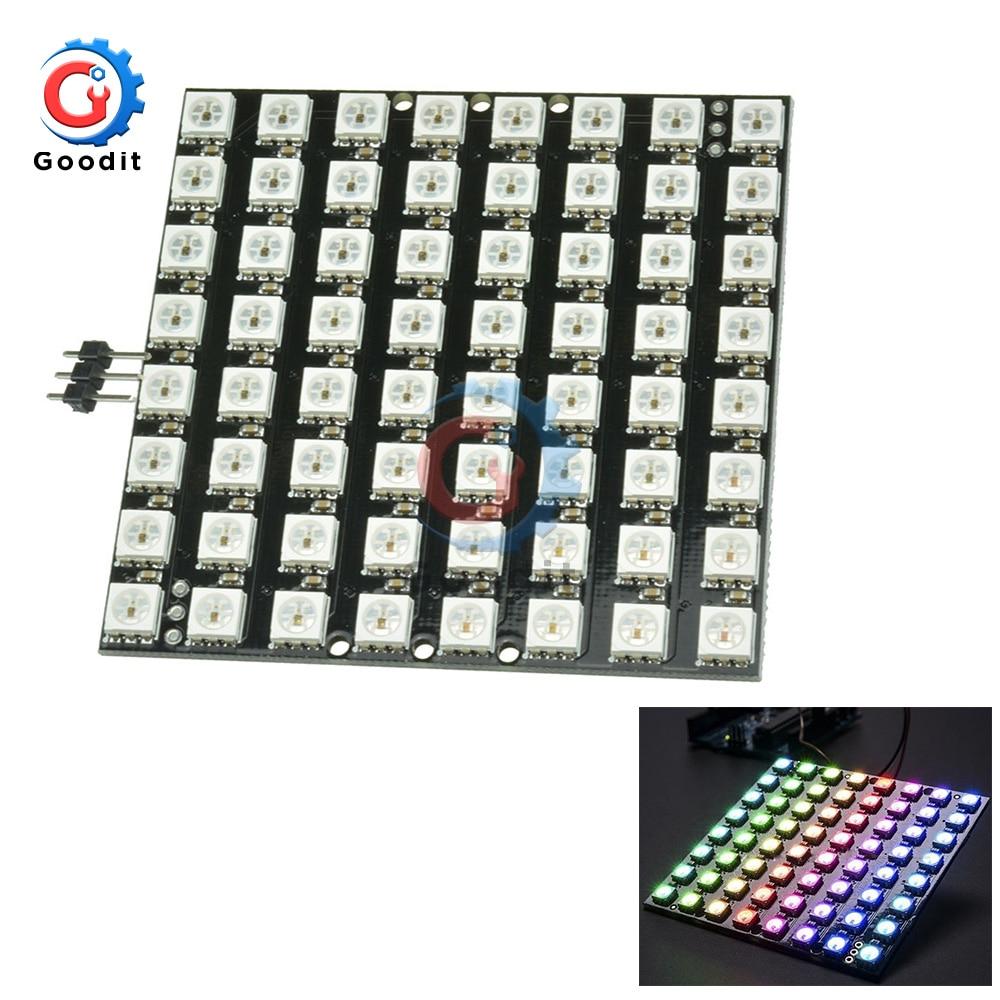 64Bit WS2812 LED 5050 RGB 8x8 Bit LED Matrix For Arduino WS2812B 8*8 64-Bit Full Color LED Lamp Panel Light LED Lights Module