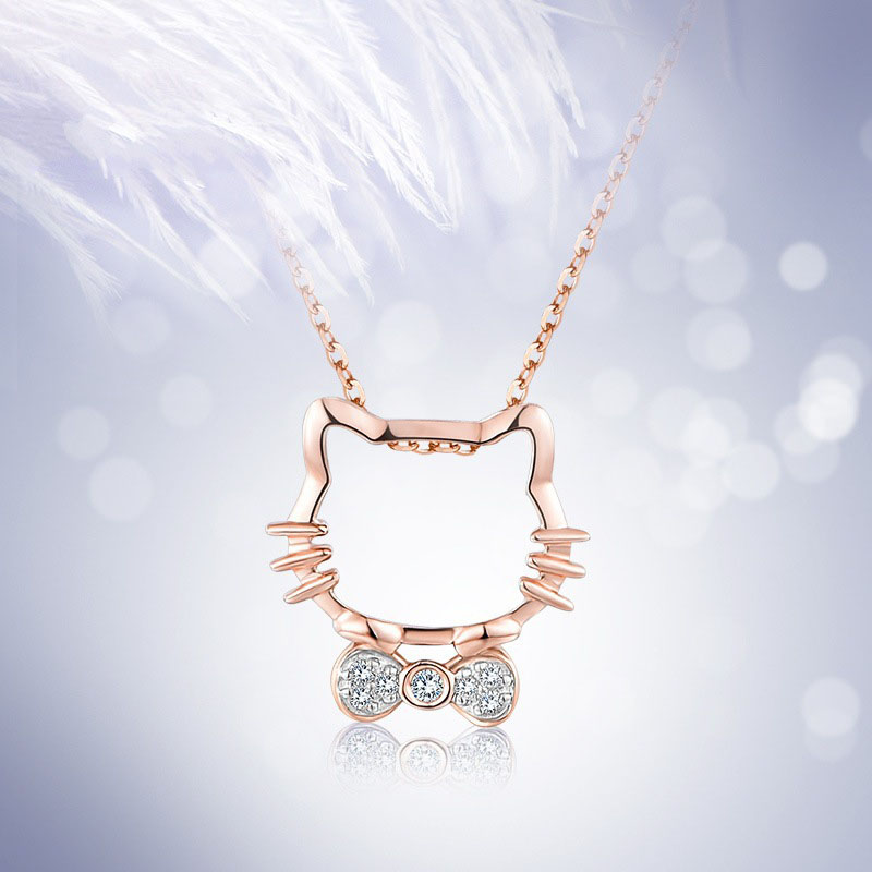 KT necklace female Korean cartoon kitty cat with zircon pendant stainless steel products Valentine's Day Gifts on February 14